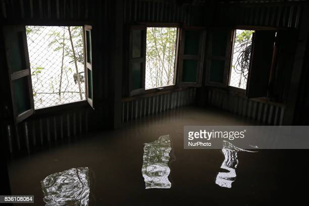 An inside view of a submarged house in Jamalpur Bangladesh on 19 August 2017