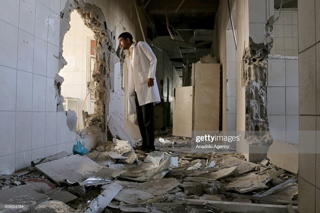 An inside view of es-Sevre (Revolution) hospital after shiite Houthis shelling in Taiz, Yemen on December 31, 2015.