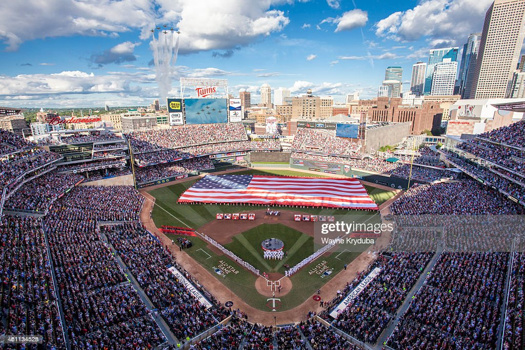 An inside view of Target Field as the Air Force Thunderbirds perform a flyover during the national anthem prior to the 85th MLB All-Star Game at Target Field on July 15, 2014 in Minneapolis, Minnesota.