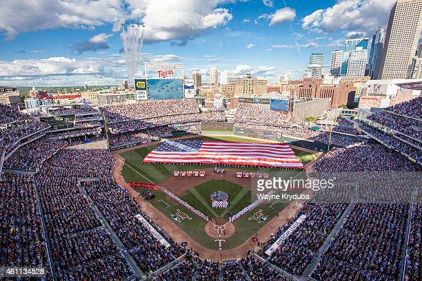 An inside view of Target Field as the Air Force Thunderbirds perform a flyover during the national anthem prior to the 85th MLB AllStar Game at...