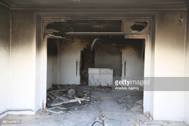 An inside view of the police station which was set afire by protesters during a protest in Tataouine Tunisia on May 23 2017 Anouar Sakrafi one of the...