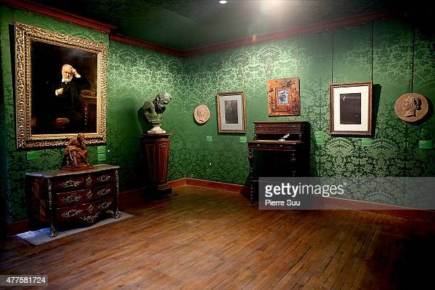 An inside view of the private apartment of French writer Victor Hugo as it reopens to the public after two months of renovation on June 18 2015 in...