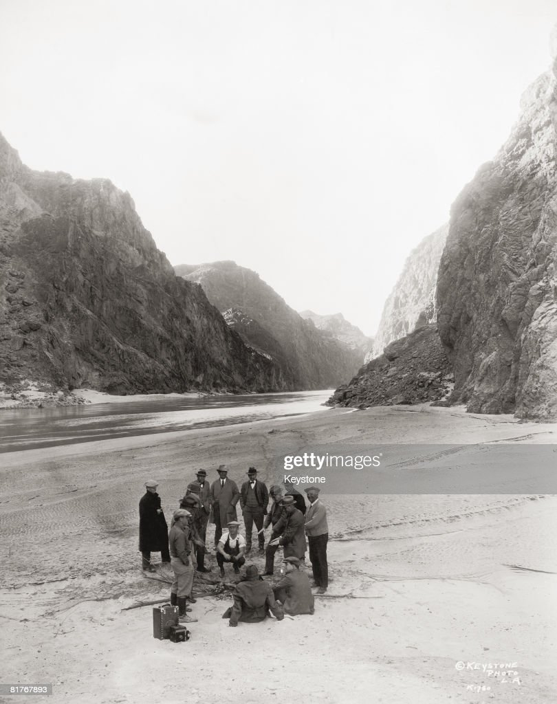 An inspection party near the proposed site of the Hoover Dam (aka Boulder Dam) in the Black Canyon of the Colorado River, circa 1928.