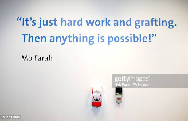 An inspirational quote from Mo Farah on the wall