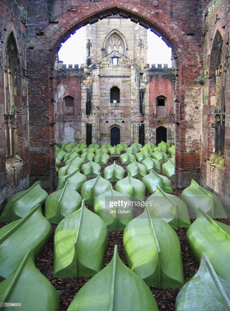 An installation by artist Matej Andraz Vogrincic of Slovenia fills St Luke's, known locally as 'the bombed-out church', with a congregation of upturned rowing boats, at the Liverpool Biennial on October 28, 2006 in Liverpool, England. The fourth Liverpool Biennial runs from September 16 to November 26. The festival showcases artwork by over 150 North West, UK and International artists across 62 venues.