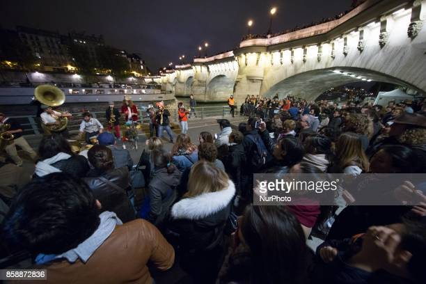 An installation by the art collective Invisible Playground Network is displayed along the river Seine in downtown Paris during the White Night 2017...