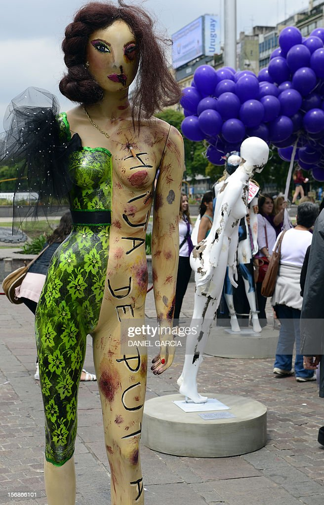 An installation consisting in a series of dummies intervened to raise awareness about gender violence, on November 23, 2012 set up around the obelisk in Buenos Aires, ahead of the International Day for the Elimination of Violence against Women to be held on November 25. AFP PHOTO/DANIEL GARCIA