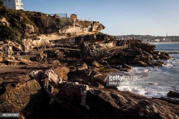An installation is pictured at sunrise during Sculptures By The Sea at Bondi Beach on October 19 2017 in Sydney Australia