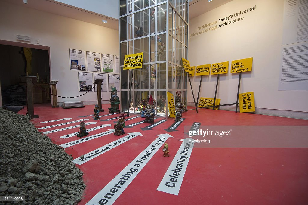 An installation is seen in the Biennale Pavillion of the 15th Architecture Venice Biennale, on May 26, 2016 in Venice, Italy. The 15th International Architecture Exhibition of La Biennale di Venezia will be open to the public from May 28 to November 27 in Venice, Italy.