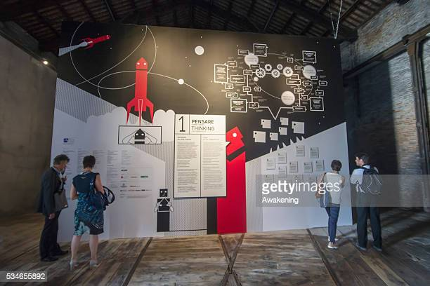 An installation is seen in the Italian Pavillion of the 15th Architecture Venice Biennale on May 27 2016 in Venice Italy The 15th International...