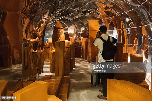 An installation is seen in the Macedonian Pavillion of the 15th Architecture Venice Biennale on May 27 2016 in Venice Italy The 15th International...