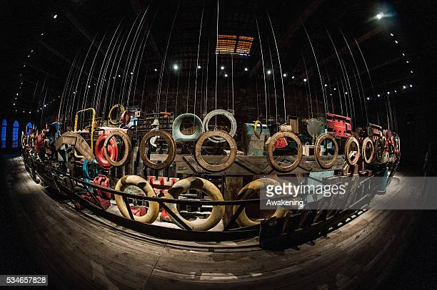 An installation is seen in the Turkey Pavillion of the 15th Architecture Venice Biennale on May 27 2016 in Venice Italy The 15th International...