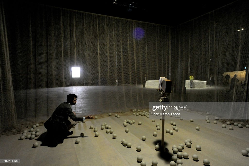 An installation of Cildo Meireles is displayed during the 'Cildo Meireles, Installation' exhibition presentation at HangarBicocca on March 26, 2014 in Milan, Italy.