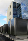 An installation of new Bloom Energy servers called the 'Bloom Box' are seen in service at the eBay headquarters February 24 2010 in San Jose...