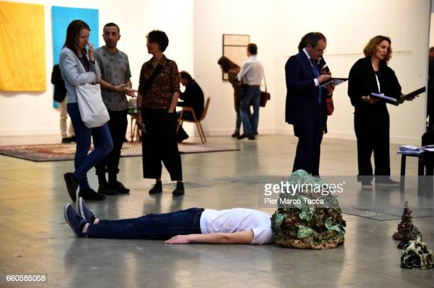 An installation of Salvatore Arancio is displayed during the Miart Fair 2017 at Fiera Milano City on March 30 2017 in Milan Italy