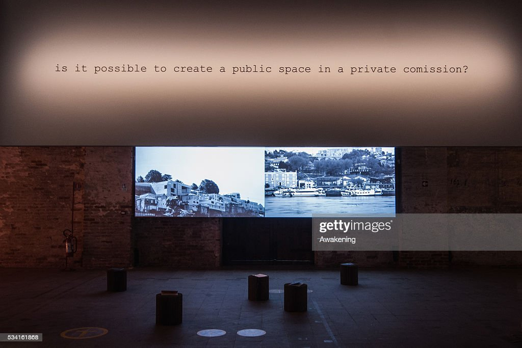 An installation of the Reporting from the Front pavillon of the 15th Architecture Venice Biennale, on May 25, 2016 in Venice, Italy. The 15th International Architecture Exhibition of La Biennale di Venezia will be open to the public from May 28, 2016 in Venice, Italy.