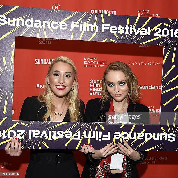 An instant view of actors Harley Quinn Smith and LilyRose Melody Depp attend the 'Yoga Hosers' Premiere during the 2016 Sundance Film Festival at...