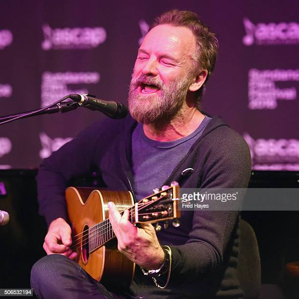 An instant view of Sting performing at the ASCAP Music Cafe during the 2016 Sundance Film Festival at Sundance ASCAP Music Cafe on January 23 2016 in...