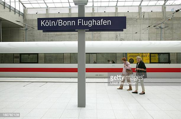An InterCityExpress2 of the Deutsche Bahn AG in the new train station at the KonradAdenauer airport Cologne/Bonn