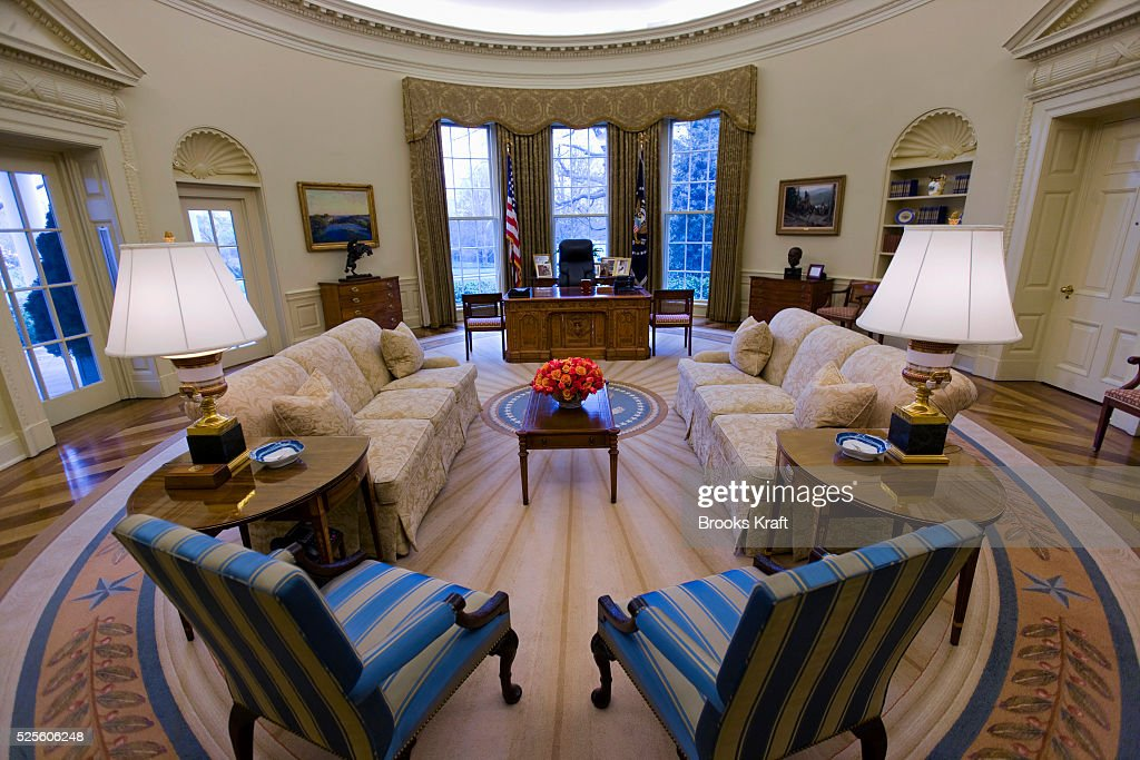 the white house oval office. an intererior view of the oval office when empty at white house during p