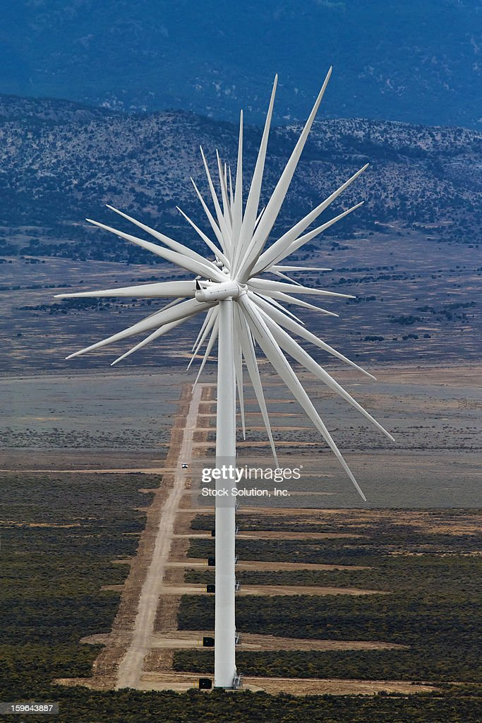 CONTENT] An interesting visual abstract from the alignment of 14 wind turbines on a western Nevada 'wind farm'. Note the size relationship of the truck driving straight for us on the service road (these turbines are HUGE).