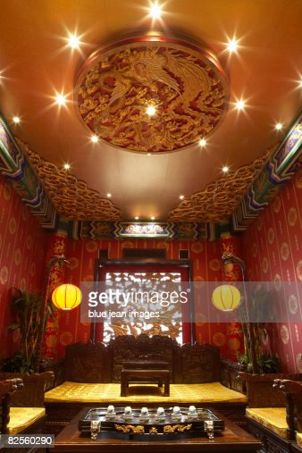 an interior design element of a traditional chinese tea house
