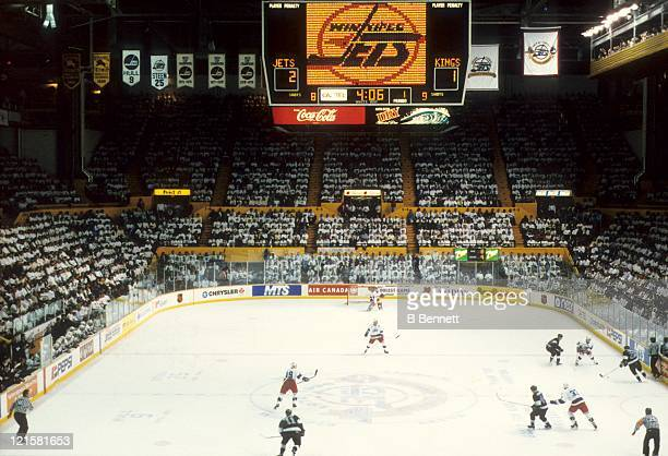 An interior general view of the Winnipeg Arena during the Los Angeles Kings and Winnipeg Jets NHL game circa 1996 at the Winnipeg Arena in Winnipeg...