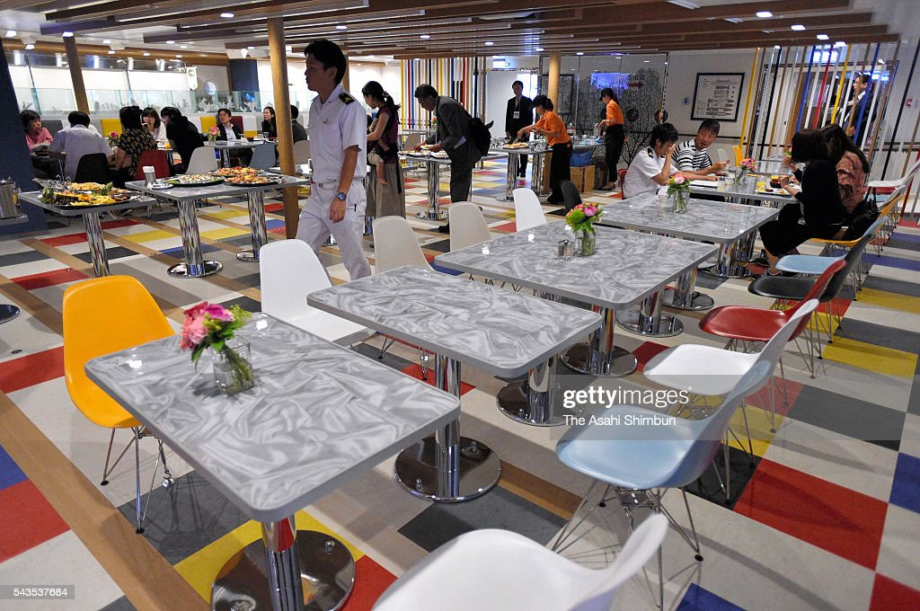 An interior of restaurant 'Chichi-Jima' of the new 'Ogasawara-Maru' ferry during the press preview on June 29, 2016 in Tokyo, Japan. The ferry, connecting Chichijima Island and Tokyo's Takeshiba Pier, will be replaced to new ship on July 2.