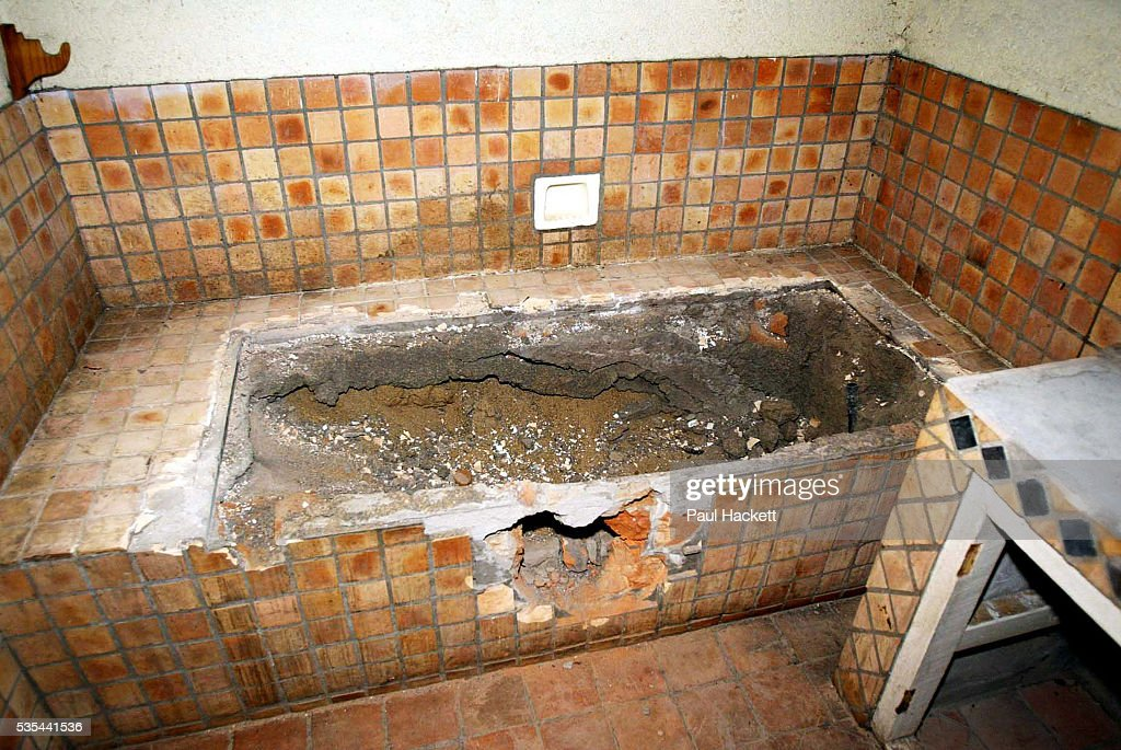 An Interior picture of the bathroom at Maryvale farmhouse which had been looted and destroyed by Zimbabweans trying to oust the local white farmers...
