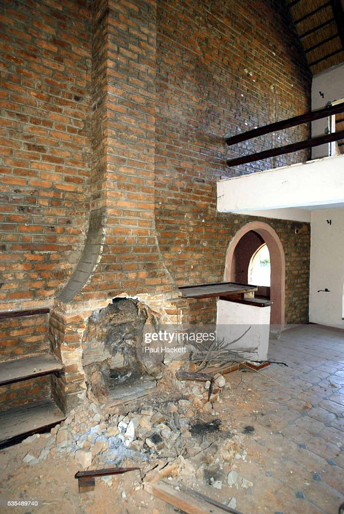 An Interior picture of the fireplace at Maryvale farmhouse which had been looted and destroyed by Zimbabweans trying to oust the local white farmers...