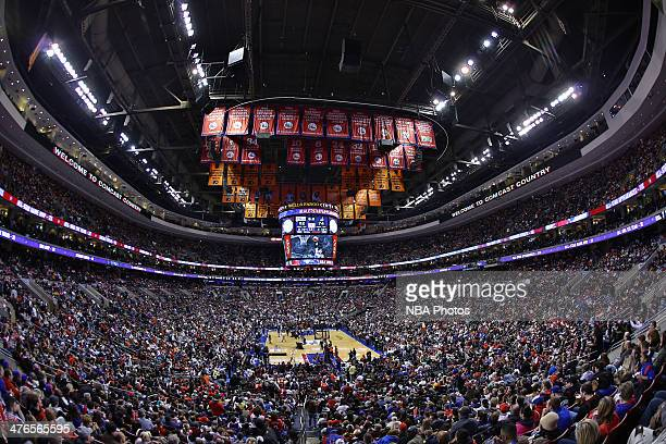 An interior shot of the arena before 76ers Legend Allen Iverson jersey retirement ceremony at Wells Fargo Center in Philadelphia PA on March 1 2014...