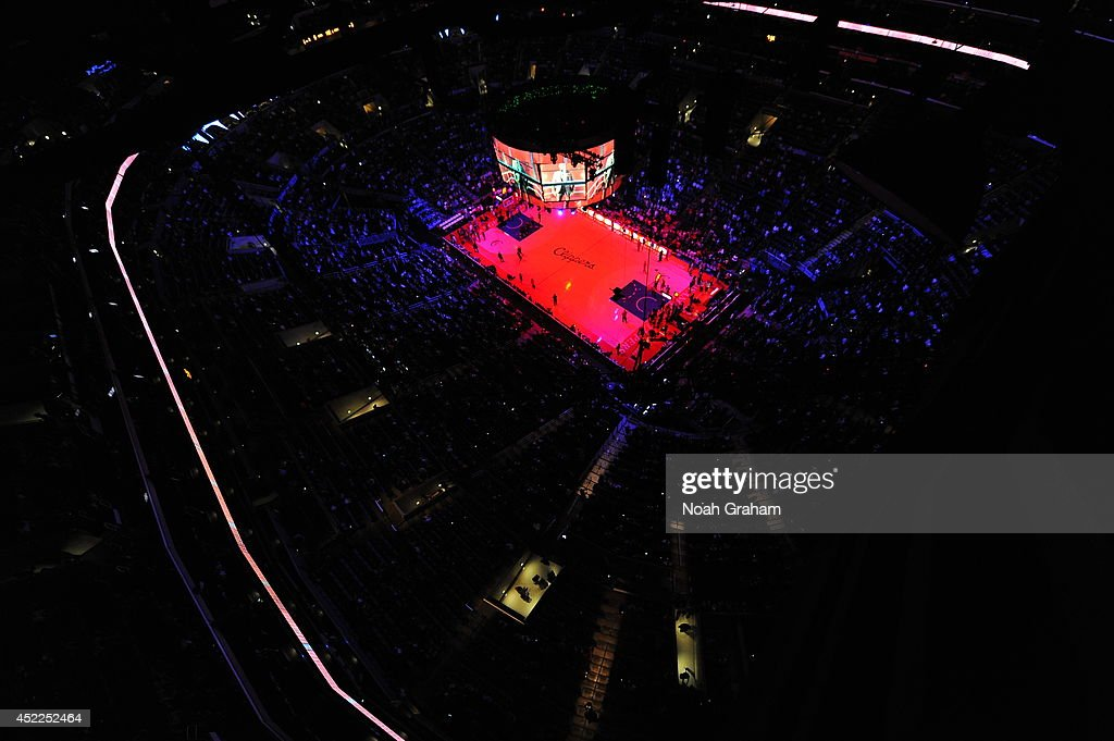An interior shot of the arena before the game between the Los Angeles Clippers and the Golden State Warriors at STAPLES Center on March 12, 2014 in Los Angeles, California.