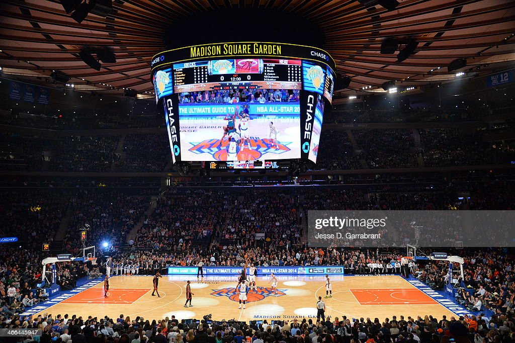 An interior shot of the arena before the game between the New York Knicks and the Miami Heat on February 1 2014 at Madison Square Garden in New York...