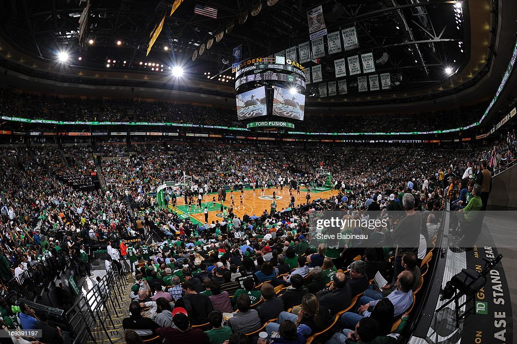 An interior shot of the arena during the game between the Boston Celtics and the Brooklyn Nets on April 10, 2013 at the TD Garden in Boston, Massachusetts.