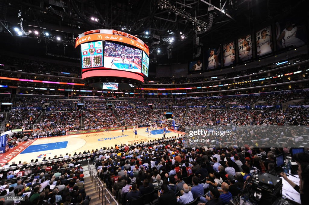 An interior shot of the arena during the game between the Los Angeles Clippers and the Golden State Warriors at STAPLES Center on March 12, 2014 in Los Angeles, California.