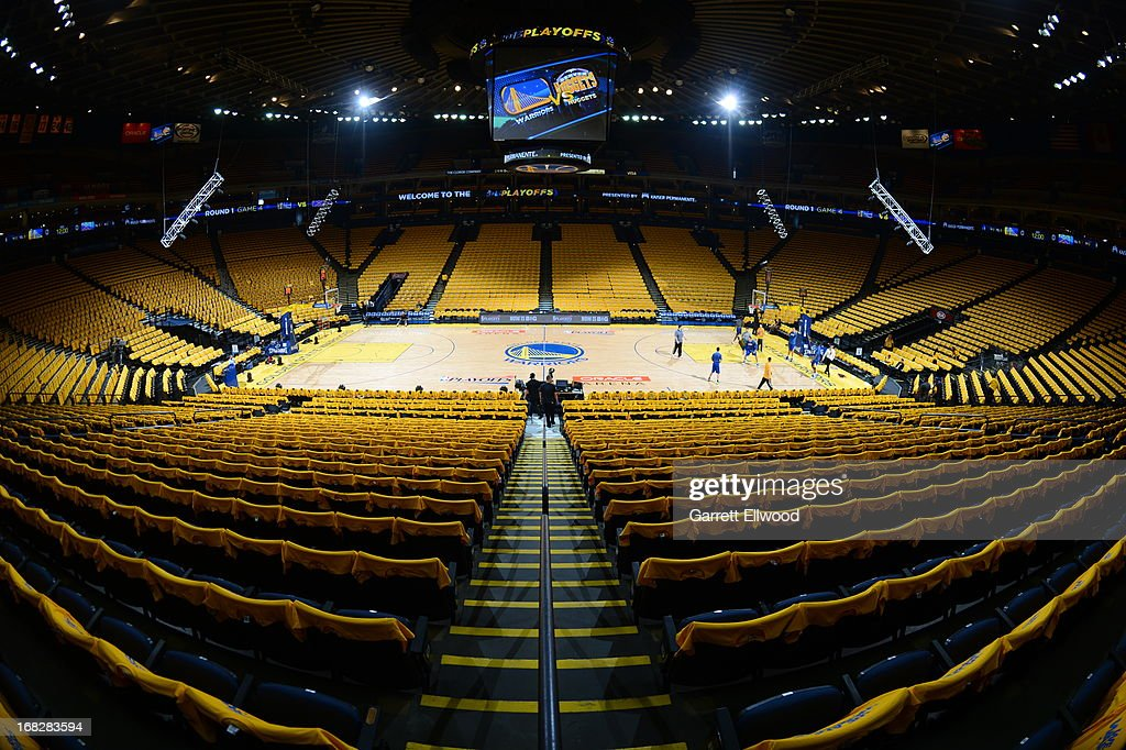 An interior shot of the Oracle Arena before Game Four of the Western Conference Quarterfinals between the Golden State Warriors and the Denver Nuggets during the 2013 NBA Playoffs on April 28, 2013 at the Oracle Arena in Oakland, California.