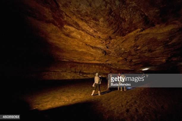 An interior view of Aroe Jari the largest sandstone cavern in Brazil which is located in the Pantanal region on November 17 2013 in Cuiaba Brazil The...