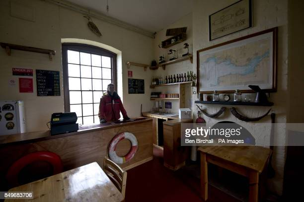 An interior view of Flat Holm pub which is housed in the old Victorian stone barracks built in 1869 to sleep up to 50 men on Flat Holm island in the...