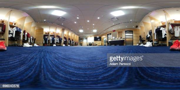 An interior view of Quicken Loans Arena locker room before Game three of the NBA Finals in Cleveland Ohio on June 7 2017 NOTE TO USER User expressly...