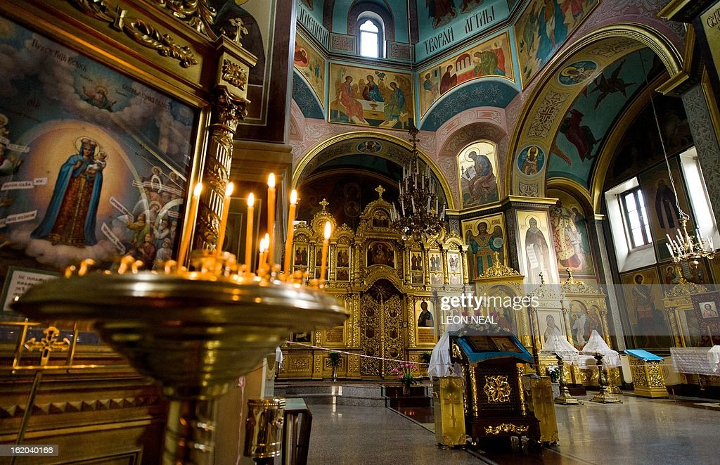 An interior view of Saint Michael's Cathedral in central Sochi taken on February 18, 2013. With a year to go until the Sochi 2014 Winter Games, construction work and development continues as Olympic tests events and World Championship competitions are underway. AFP PHOTO / LEON NEAL