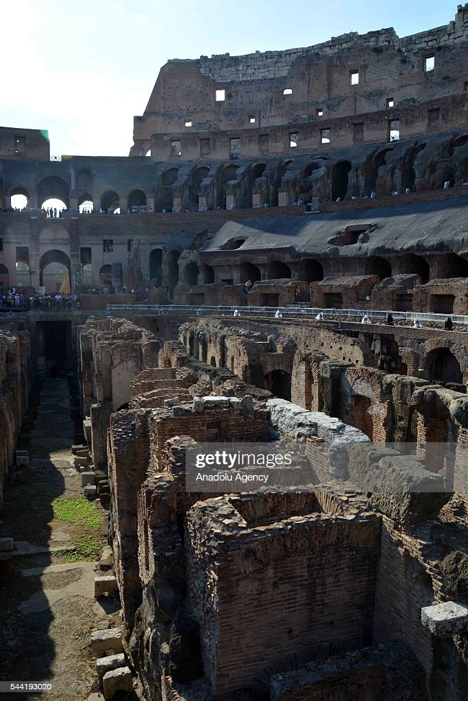 An interior view of the ancient Colosseum arena after the end of the restoration period of the facade, in Rome, Italy, on July 1, 2016. The landmark Roman era Colosseum arena underwent a major clean-up 3 years ago.