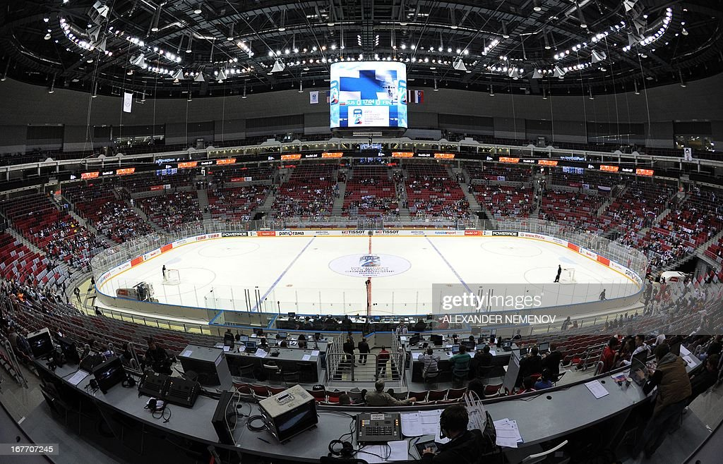 An interior view of the Bolshoi Ice Dome arena - ice hockey venue at the Olympic Park in Adler outside Sochi, during the IIHF U18 International Ice Hockey World Championship on April 28, 2013.