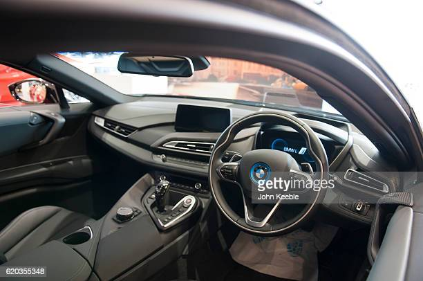 An interior view of the cockpit inside the new BMW i8 Edrive hybrid car on October 20 2016 in Southend United Kingdom