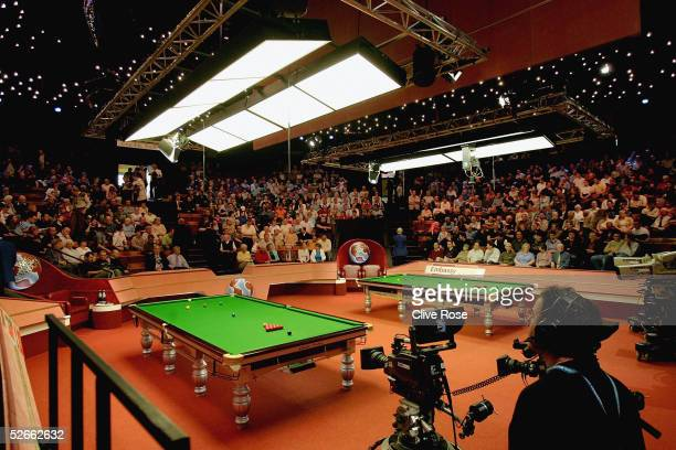 An interior view of the Crucible Theatre at the Embassy World Snooker Finals on April 20 2005 in Sheffield England
