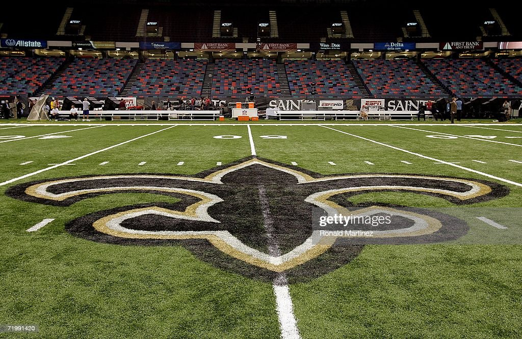 An interior view of the field showing the New Orleans Saints logo a fleurdelis in the newly refurbished Superdome prior to the Monday Night Football...