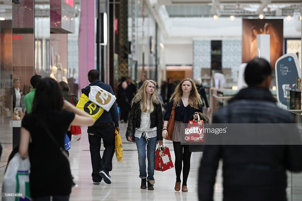 An interior view of the giant Westfield London shopping centre in Shepherd's Bush on February 21 2011 in London England The Westfield shopping mall...