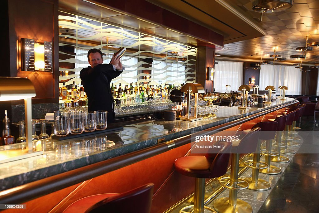 An interior view of the Lang Bar is pictured during the opening of Germany's first Waldorf Astoria hotel on January 3, 2013 in Berlin, Germany. The luxury Waldorf Astoria Berlin with its 232 luxury guest rooms and suites on 32 storeys is located near the Kaiser Wilhelm Memorial Church (Kaiser-Wilhelm-Gedächtniskirche).