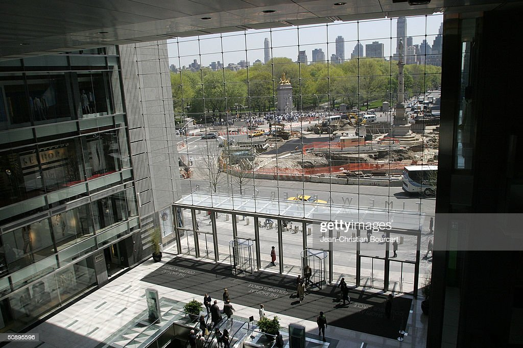 An interior view of the lobby in new Time Warner Building is seen in Columbus Circle behind architect Howard Elkus (R) and developer Ken Himmel (L) April 29, 2004 in the Manhattan borough of New York City. The building houses many businesses including the Time Warner World Headquarters, CNN offices, Five Star Mandarin Oriental Hotel, One Central Park Luxury Residences, restaurants and mall type shopping stores.
