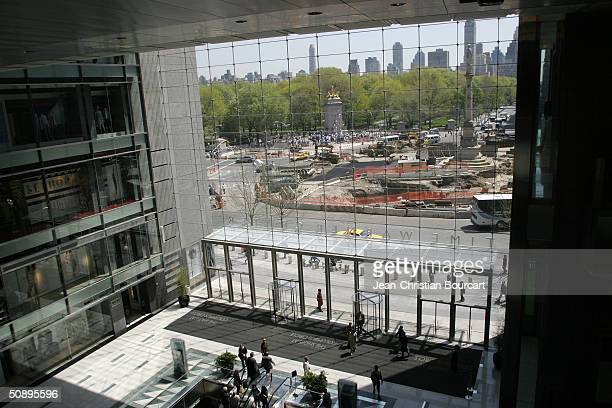 An interior view of the lobby in new Time Warner Building is seen in Columbus Circle behind architect Howard Elkus and developer Ken Himmel April 29...