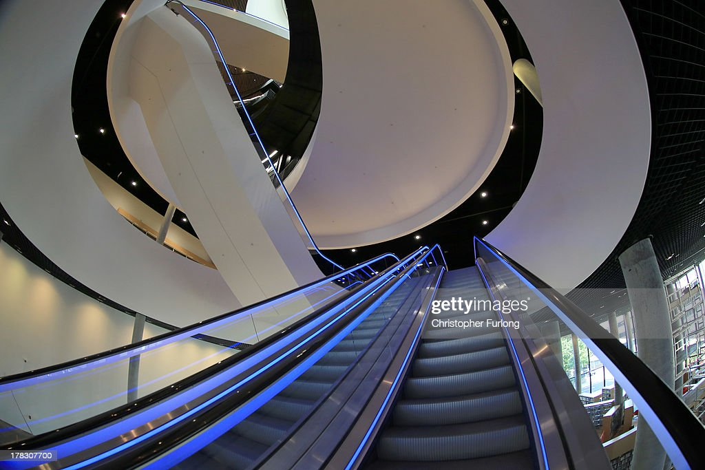 An interior view of the new Library of Birmingham at Centenary Square on August 27, 2013 in Birmingham, England. The new futuristic building designed by architect Francine Hoube officially opens on September 3 and has cost 189 million GBP. The modern exterior of interlacing rings reflects the canals and tunnels of Birmingham. The library's ten floors will house the city's internationally important collections of archives, photography and rare books as well as it's lending library.